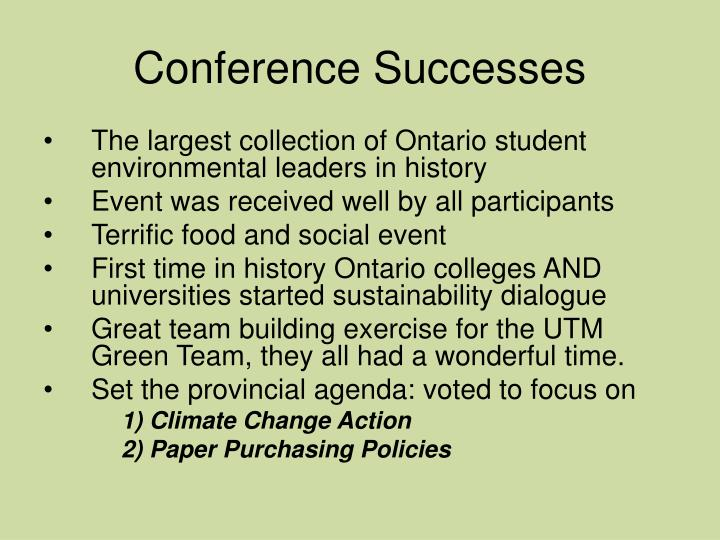 Conference Successes