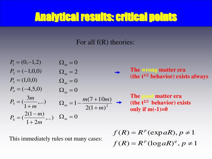 Analytical results: critical points