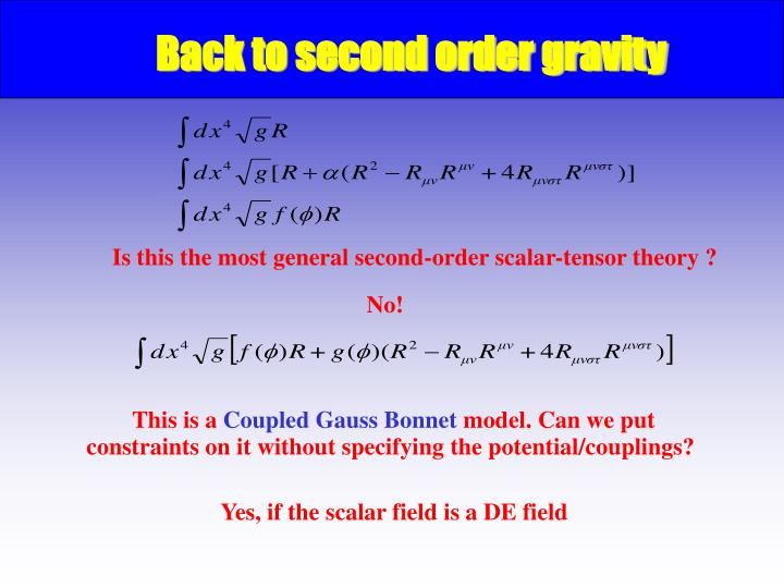 Back to second order gravity