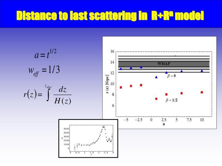 Distance to last scattering in  R+R
