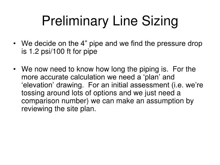 Preliminary Line Sizing
