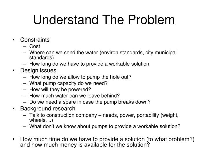 Understand The Problem