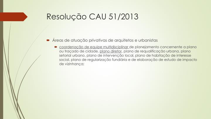 Resolução CAU 51/2013
