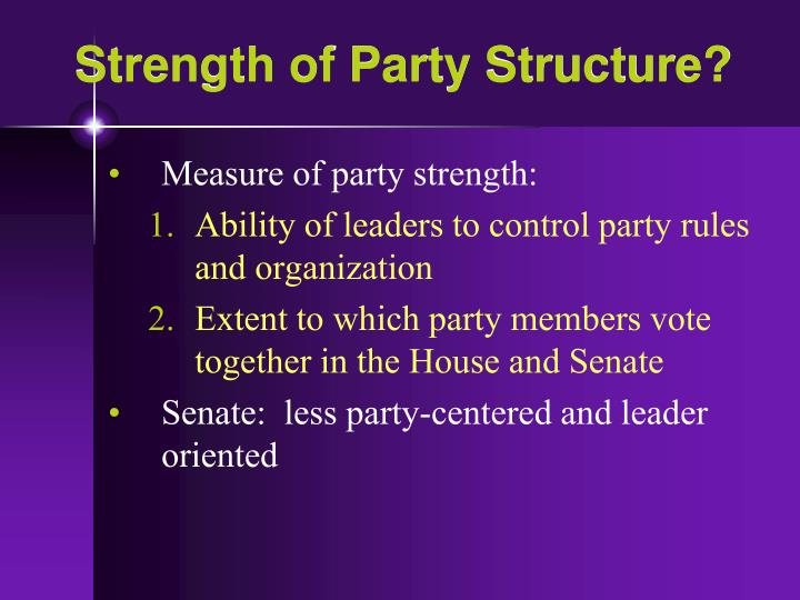 Strength of Party Structure?