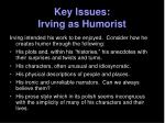 key issues irving as humorist