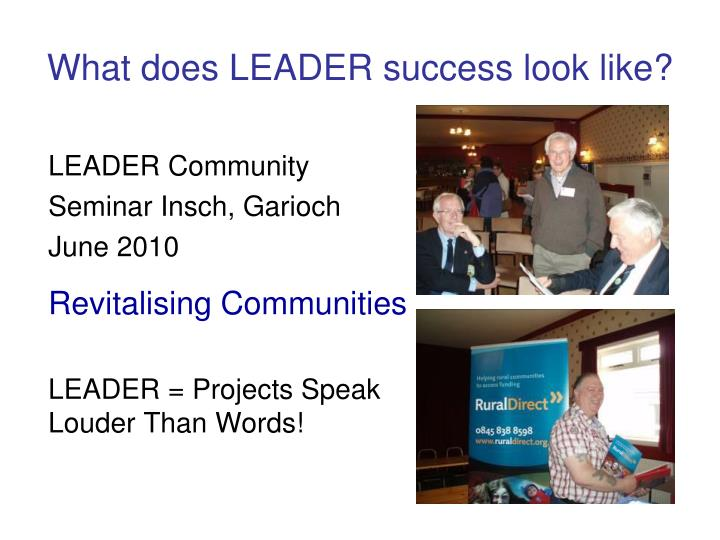 What does LEADER success look like?