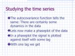 studying the time series1