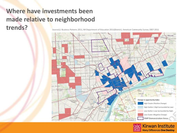 Where have investments been made relative to neighborhood trends?