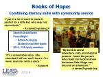 books of hope combining literacy skills with community service