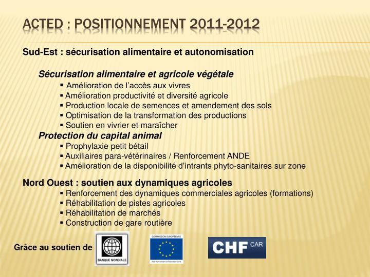 ACTED : Positionnement 2011-2012