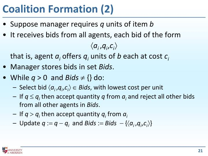 Coalition Formation (2)