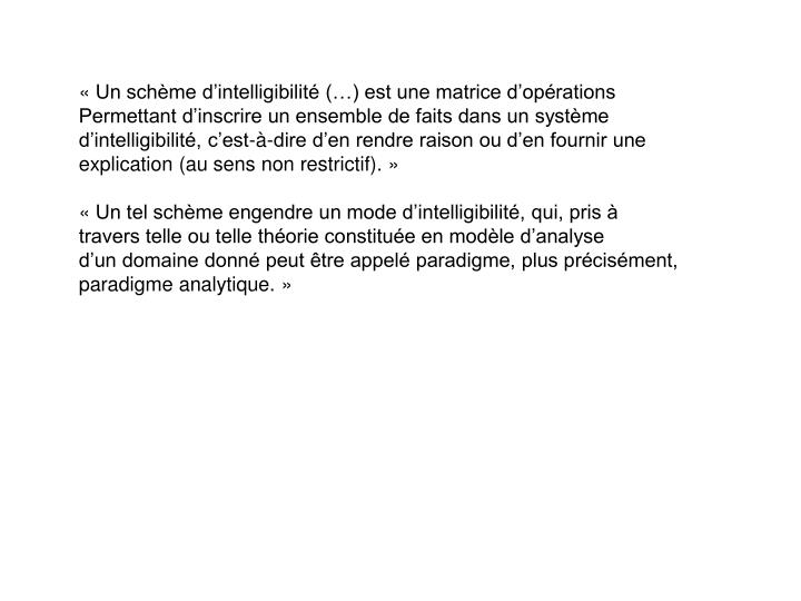 «Un schème d'intelligibilité (…) est une matrice d'opérations