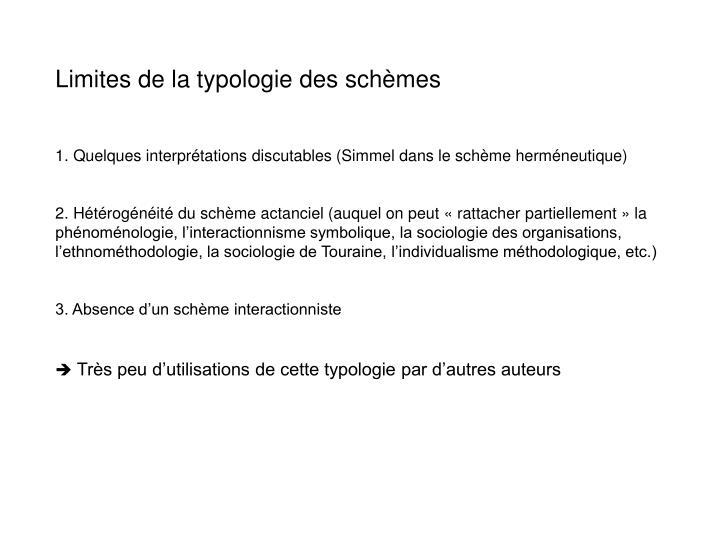 Limites de la typologie des schèmes