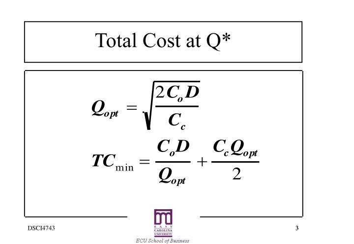 Total cost at q