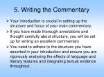5 writing the commentary
