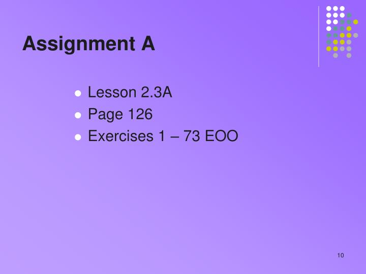 Assignment A