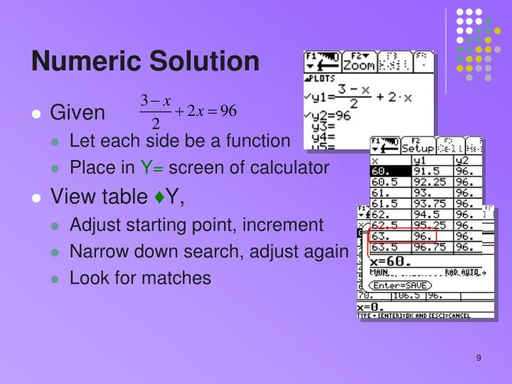 Numeric Solution