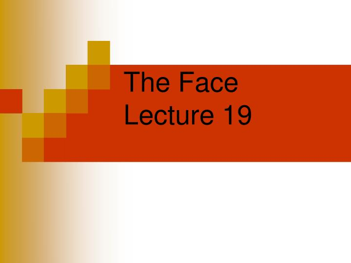 the face lecture 19 n.