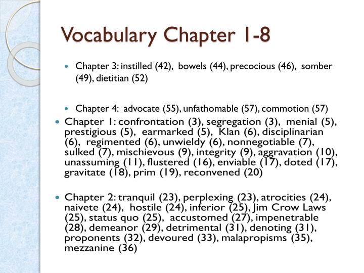 Vocabulary Chapter 1-8