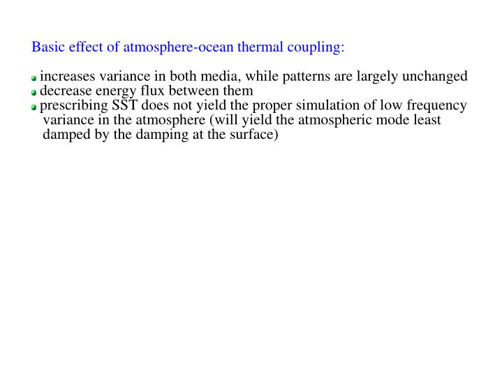 Basic effect of atmosphere-ocean thermal coupling:
