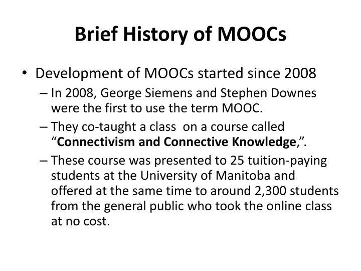 Brief History of MOOCs
