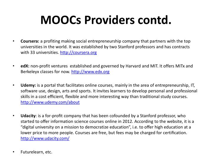 MOOCs Providers contd.
