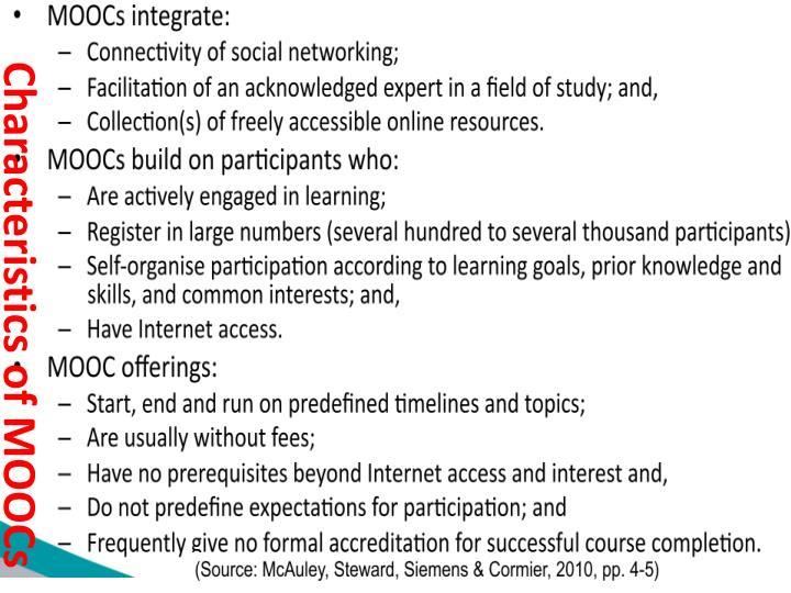 Characteristics of MOOCs