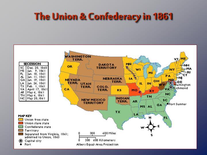 The Union & Confederacy in 1861