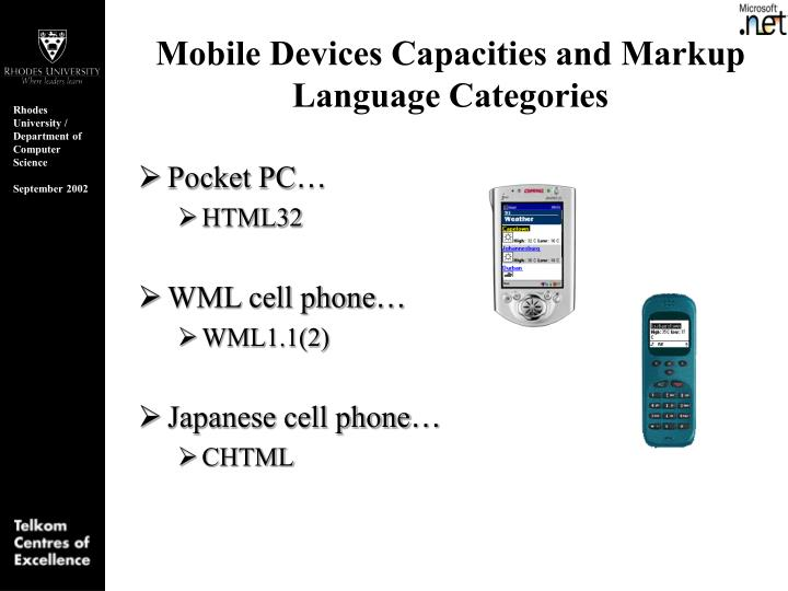 Mobile Devices Capacities and Markup Language Categories