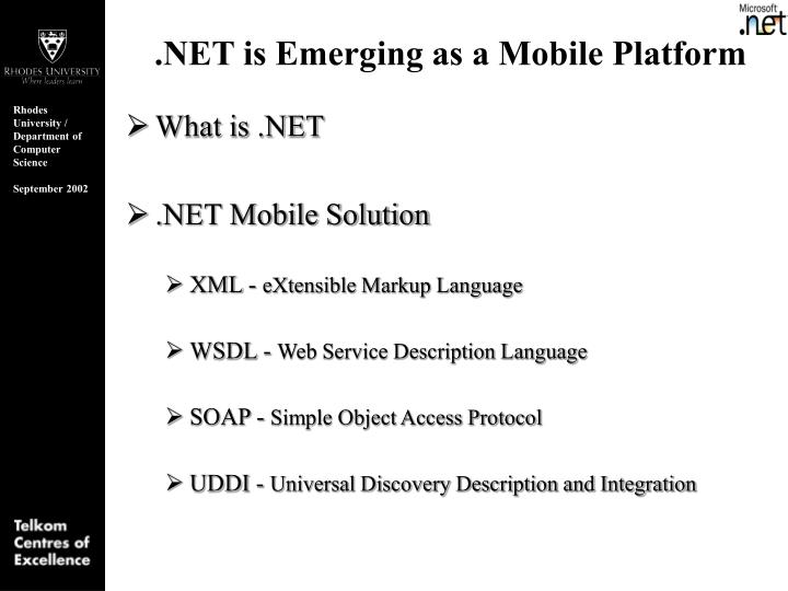 .NET is Emerging as a Mobile Platform