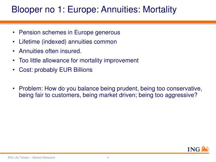 Blooper no 1: Europe: Annuities: Mortality