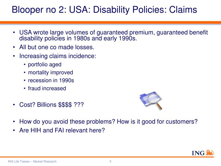 Blooper no 2: USA: Disability Policies: Claims