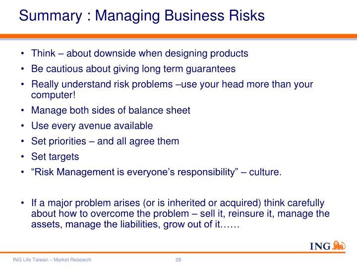 Summary : Managing Business Risks