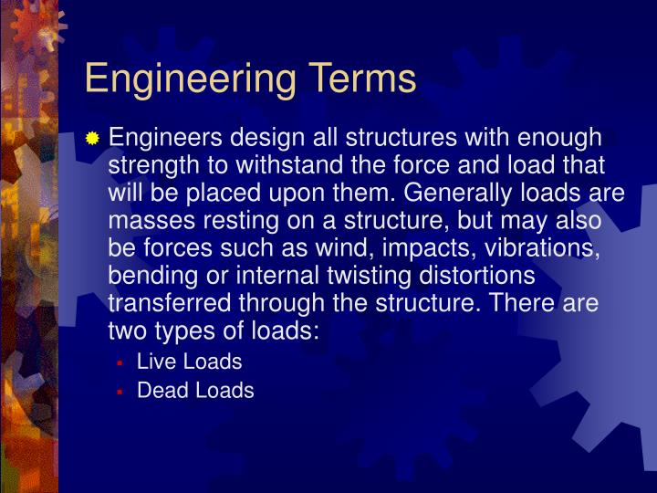 engineering terms n.