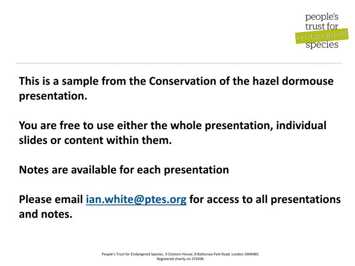 This is a sample from the Conservation of the hazel dormouse presentation.