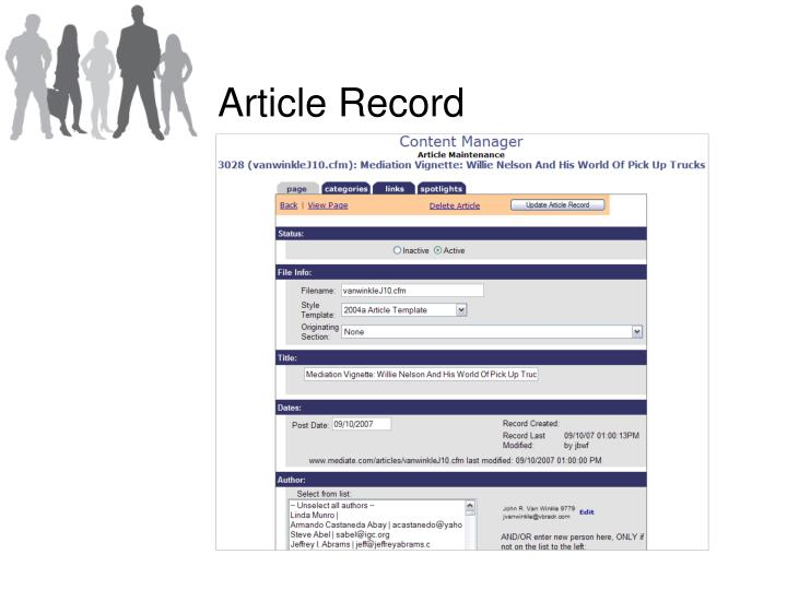 Article Record