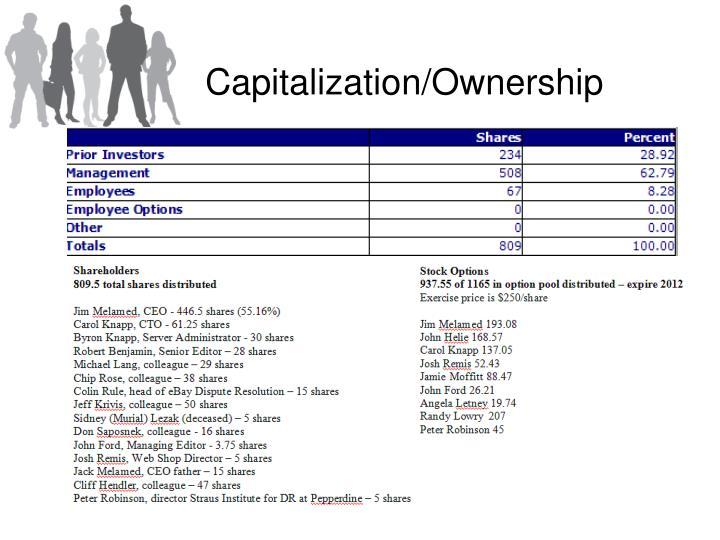 Capitalization/Ownership