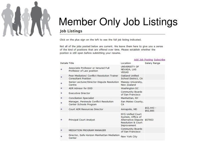 Member Only Job Listings