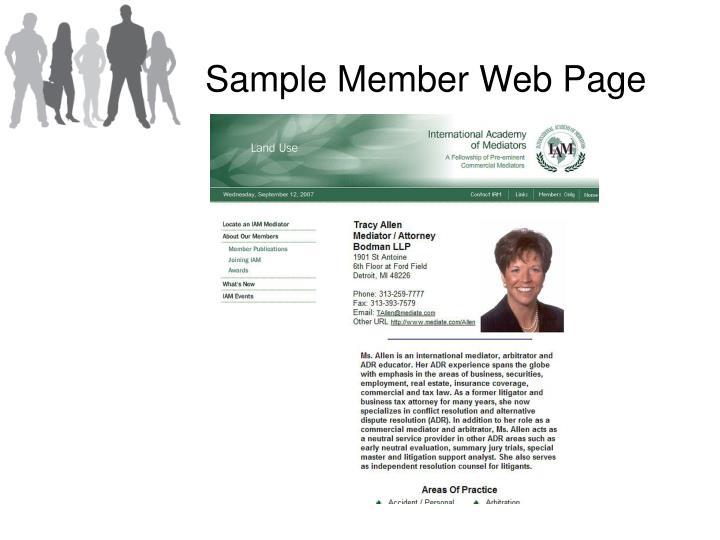 Sample Member Web Page