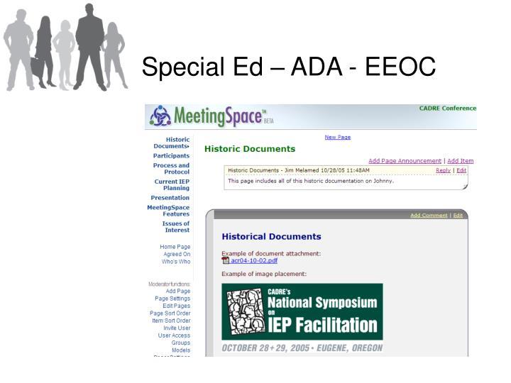 Special Ed – ADA - EEOC