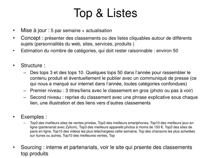 Top & Listes