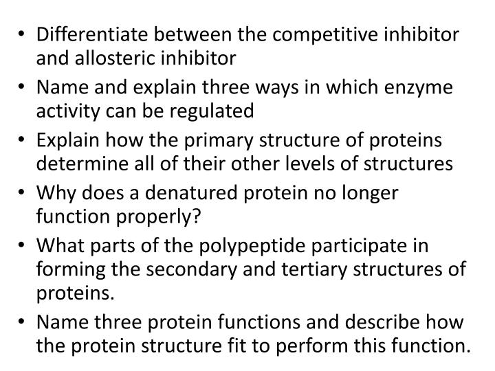 Differentiate between the competitive inhibitor and allosteric inhibitor