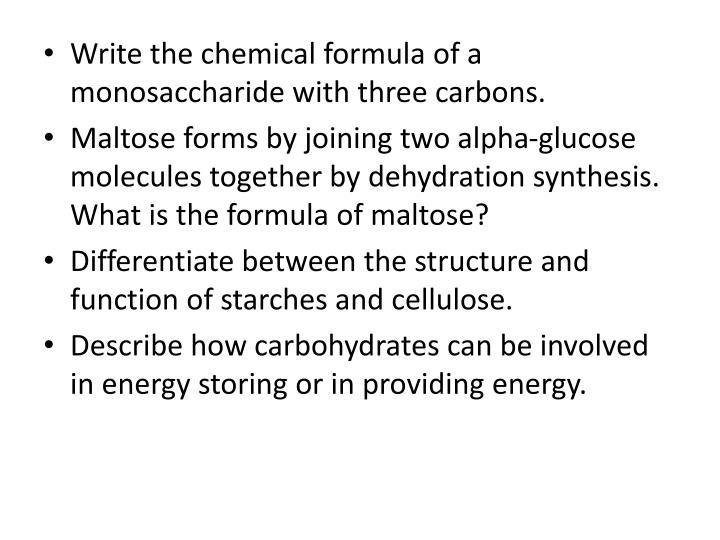 Write the chemical formula of a monosaccharide with three carbons.