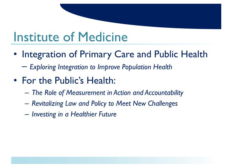 Integration of Primary Care and Public Health –