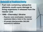 release of radioactivity