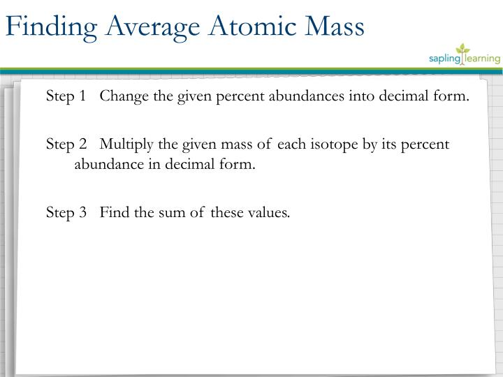 Finding Average Atomic Mass