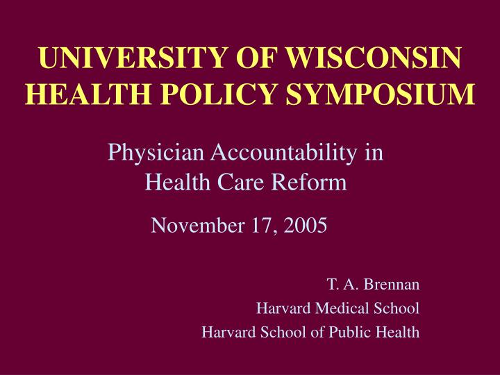 university of wisconsin health policy symposium n.