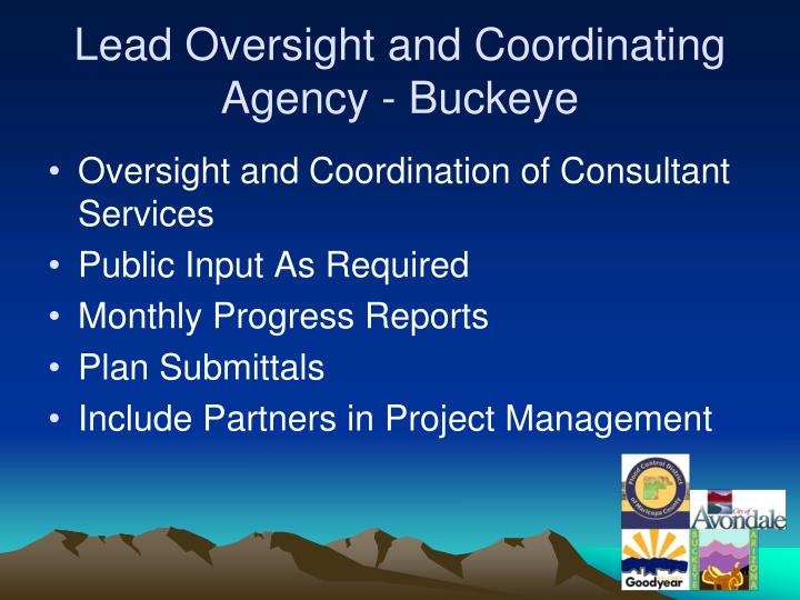 Lead Oversight and Coordinating Agency - Buckeye
