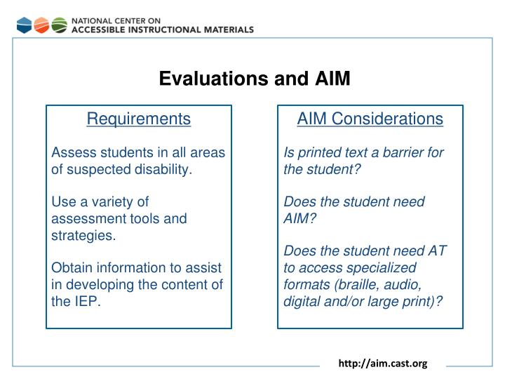 Evaluations and AIM