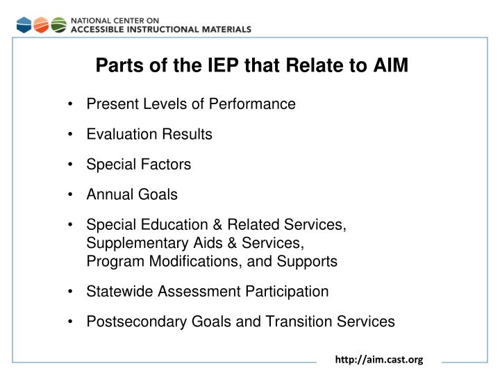 Parts of the IEP that Relate to AIM